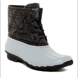 Sperry Saltwater Quilt Waterproof Boot Grey SZ 7.5